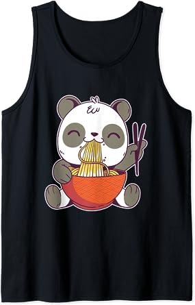 Un panda kawaii japonais mangeant de savoureux ramen Débardeur