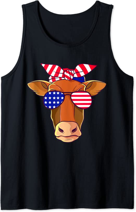 Red White Blue 4th of July Shirt USA Tank Patriotic Cow 4th of July Tank Heifer USA