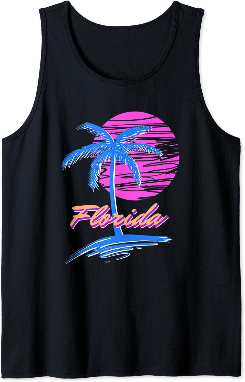 Amazon Com Florida Beach Synth Outrun Retro 80s Vaporwave Aesthetic Tank Top Clothing