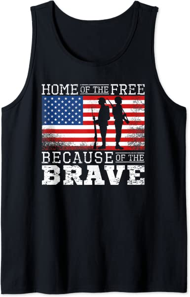 Home of the Brave Patriot American Flag USA Sleeveless Performance T-Shirt