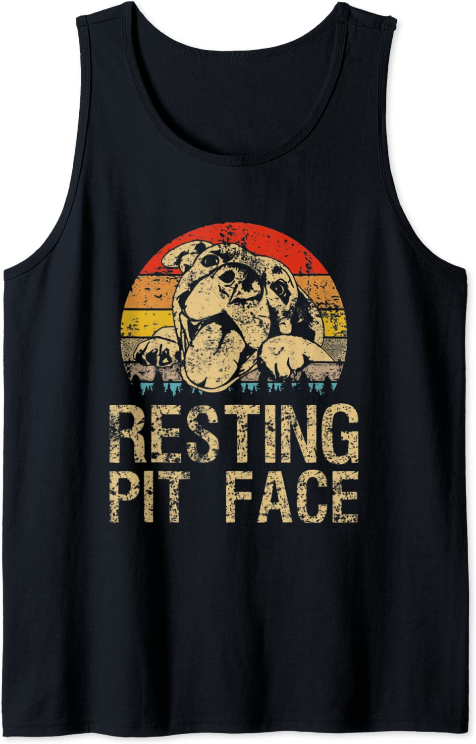 Pitbull shop Resting Pit Face - Top Tank Lovers Vintage Branded goods Funny