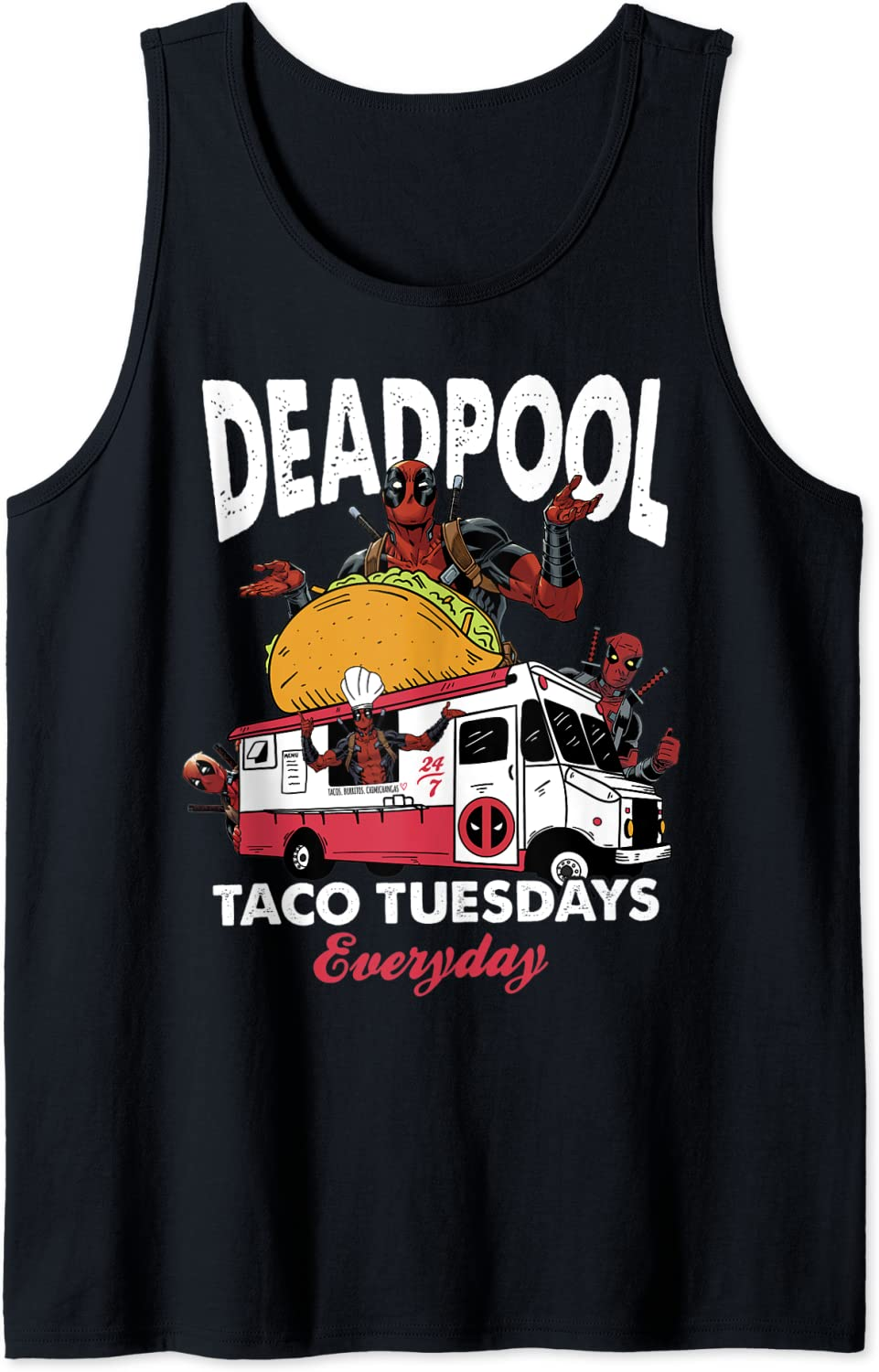 Marvel Deadpool Taco Tuesdays Everyday Food Truck Portrait Tank Top