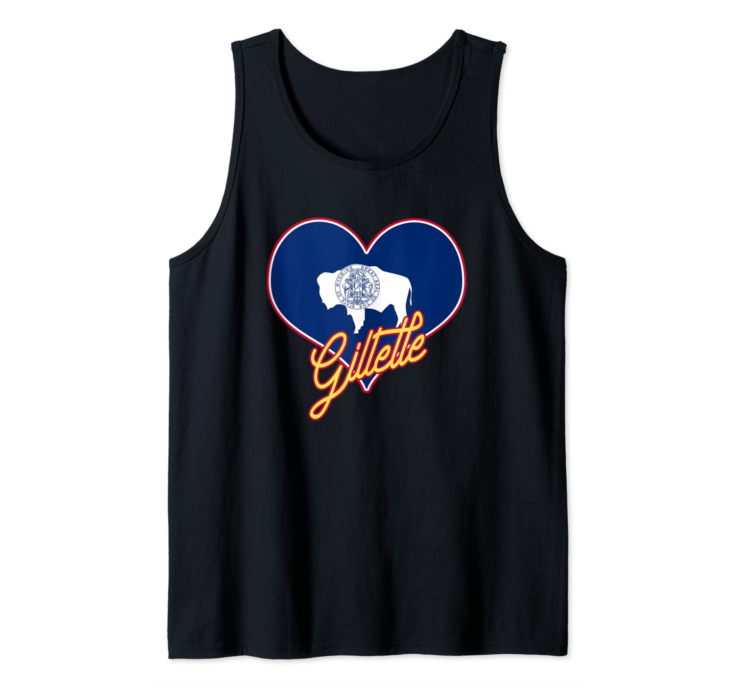 I Love Gillette Wyoming State Flag in Heart Hometown Tank Top