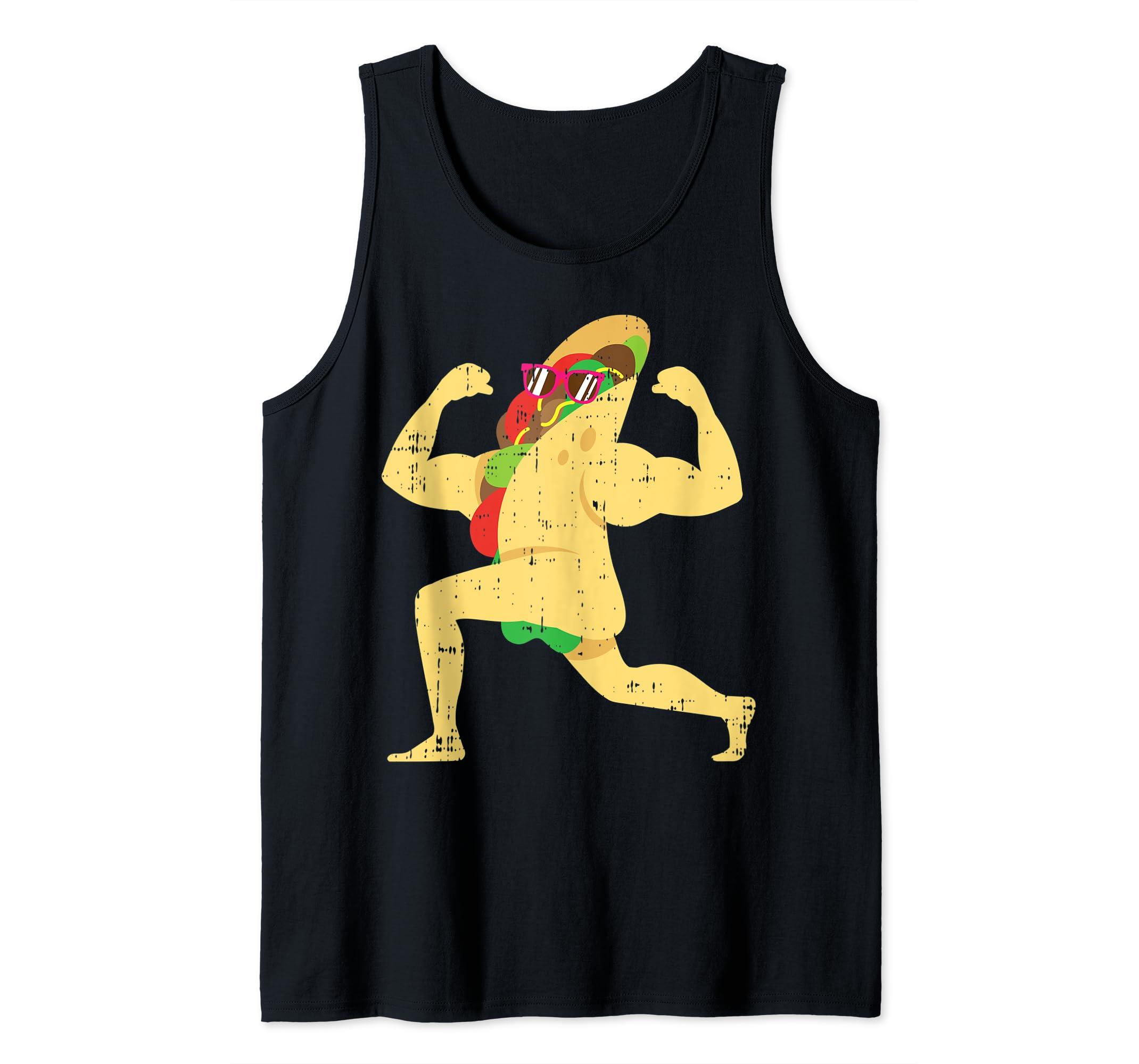 835c5d77 Amazon.com: Muscle Beach Taco Funny Mexican Cinco De Mayo Tank Top: Clothing