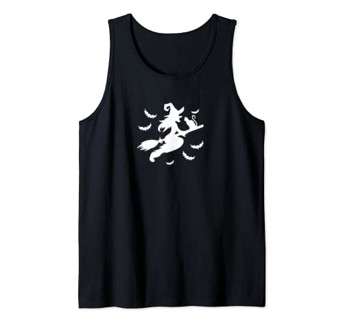 Witch Cat Broom Witch Riding Broom Halloween Woman Cat Lover Tank Top