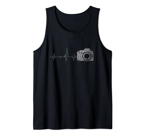 Vintage Retro Distressed Heartbeat Photographer Lover Gift Tank Top