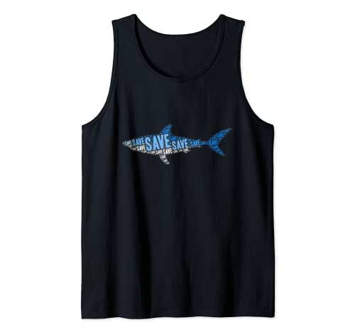 Save The Sharks Protect Ocean Scuba Diving Apnea Dive Gift Tank Top