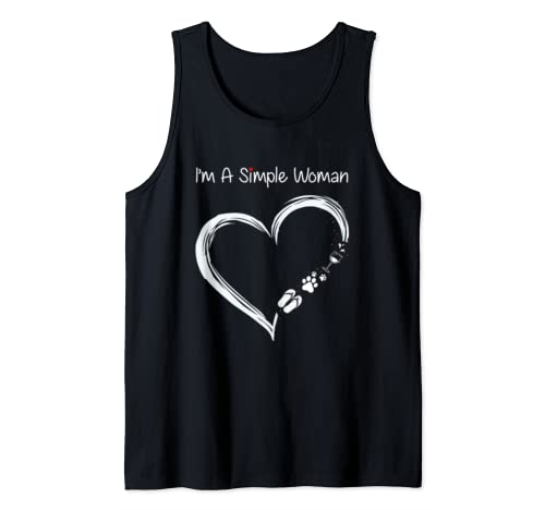 I Am A Simple Woman Wine Flip Flops Dog Heart Camping  Tank Top