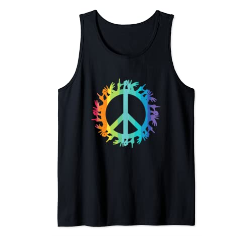 Lgbt Love Everyone Rainbow Flag Asl Hand Signs Tank Top