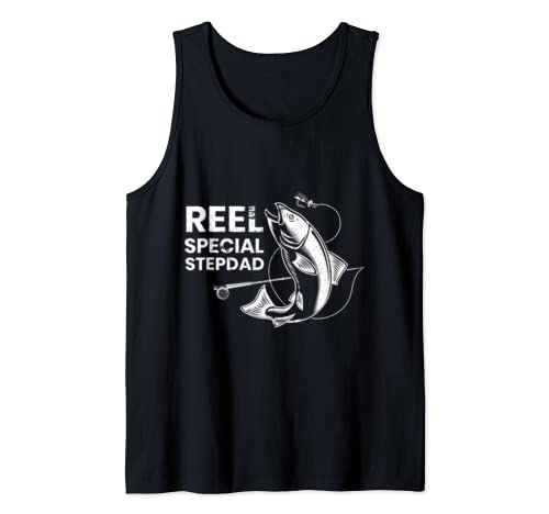 Mens Reel Special Stepdad Fishing Gift Leaping Fish Design Tank Top