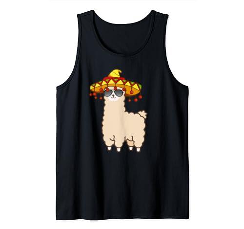 Cinco De Mayo Llama Fiesta Alpaca Sombrero Tank Top