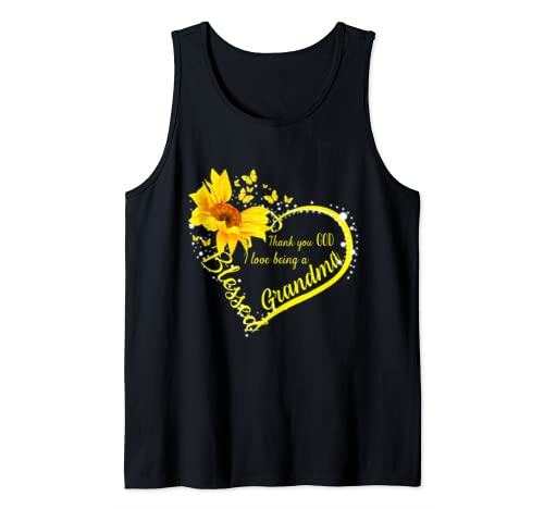 Women Mom Thank You God I Love Being A Grandma Sunflower  Tank Top