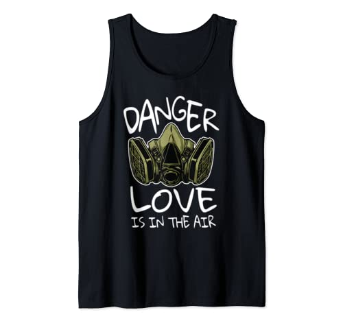 Funny Anti Valentines Danger Love Is in the Air  Tank Top