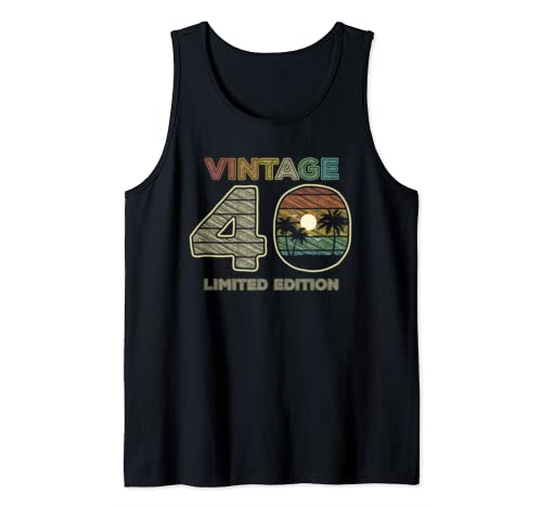 40th Birthday Gift Vintage 40 Forty Years Old Tank Top