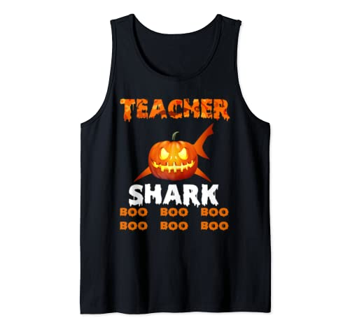 Teacher Shark Pumpkin Boo Boo Boo Funny Teacher Halloween  Tank Top