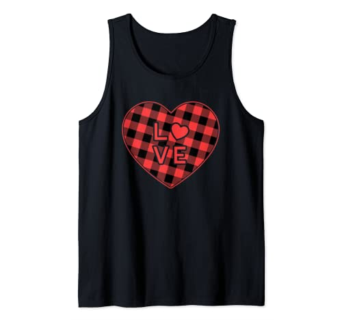 Red Plaid Heart Love Valentine's Day Tank Top