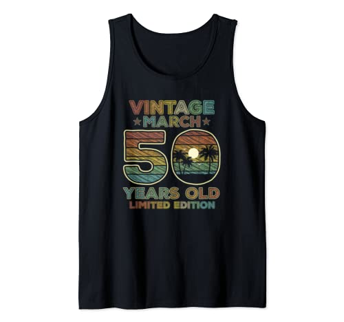 50th Birthday Gift Vintage March 1970 Fifty Years Old Tank Top