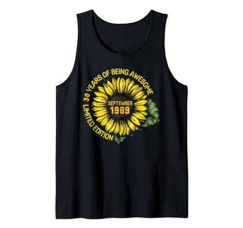 Sunflower September 1989 30 Years Being Awesome Limited Edit Tank Top