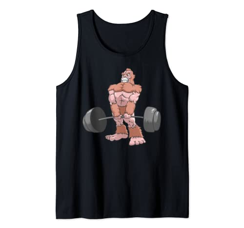 Sasquatch Deadlift Weightlifter Powerlifting Bigfoot Lift Tank Top