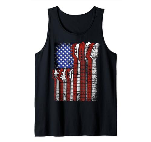 Usa American Flag Guitar Guitars Red White Blue Tank Top