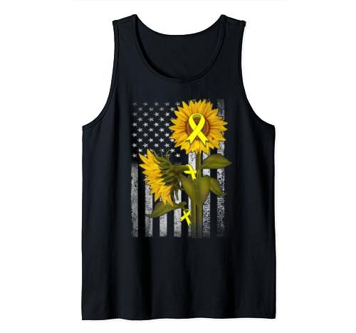 Bone Cancer American Sunflower Flag Tank Top