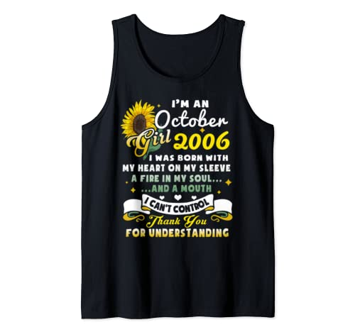 I'm A October Girl 2006 Sunflower  Tank Top