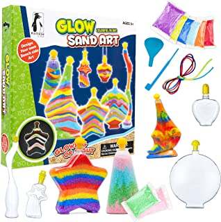 Best Sand Art Kit for Kids, Glow in the Dark Sand Art Bottles and Necklaces, Arts and Crafts STEM Toys for Boys and Girls, 8 Art Sand Colors Including 2 Glow in the Dark, Craft Gift for Boys and Girls 3+ Review
