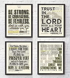 Joshua 1:9, Proverbs 3:5, Jeremiah 29:11, Philippians 4:13 Christian Art Prints, Set of 4, Unframed, Bible Verse Scripture Wall Decor Poster, 8x10 Inches