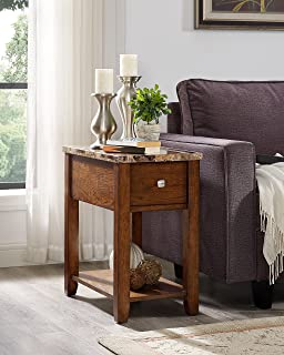 Roundhill Furniture Chair/End Table, Oak Finish