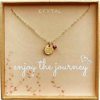 Tiny Gold Filled Ohm Necklace on Enjoy The Journey Card Dainty Om Pendant - Yoga Necklace