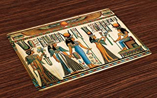 Lunarable Egyptian Place Mats Set of 4, Egyptian Papyrus Depicting Queen Nefertari Making an Offering to Isis Image Print, Washable Fabric Placemats for Dining Table, Standard Size, Teal Orange