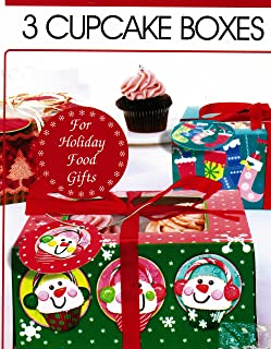 Lindy Bowman Christmas Holiday Cupcake Boxes with Ribbons and Gift Tags, Set of 3