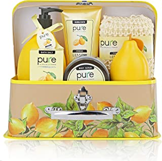 Deluxe Natural Spa Gift Basket with Lemon Essential Oils, Aromatherapy Spa Baskets with Bubble Bath, Shower Gel, & Body Lotion Gift Set for Women and Teens.Relaxation Gift kit for Women,Thank You Gift