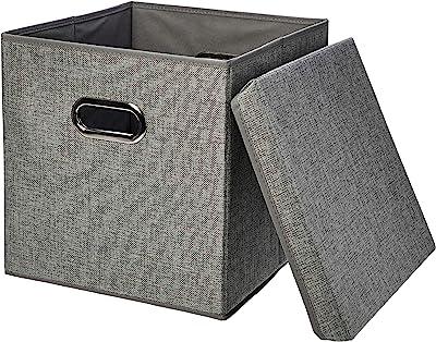 AmazonBasics Foldable Burlap Storage Cubes, Square