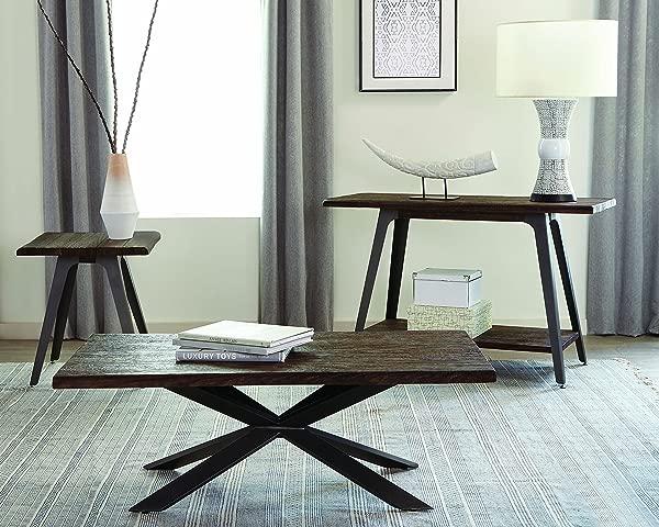 Scott Living Margot Sofa Table With Live Edge Top Dark Rustic Brown