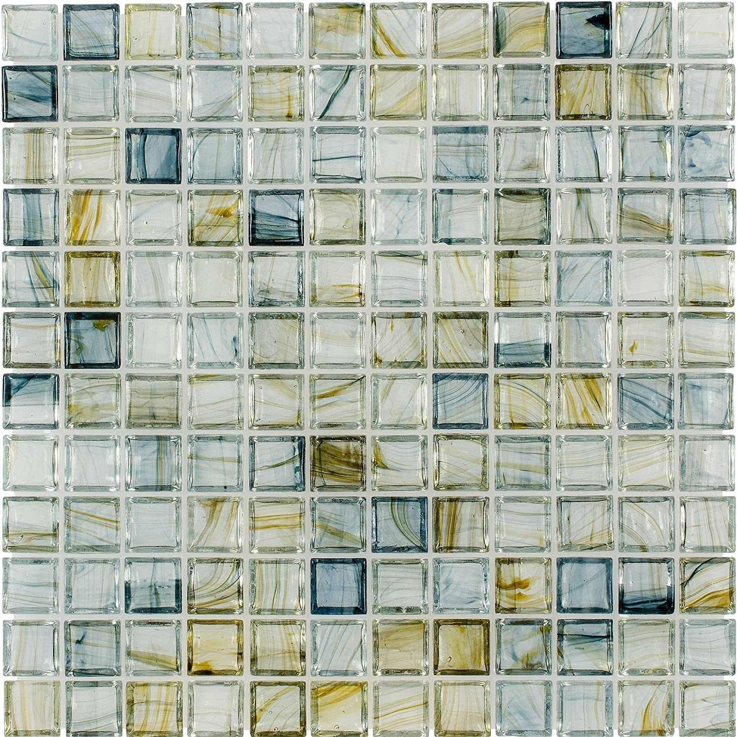 Mto0084 Classic 1x1 Stacked Squares Blue Green Glossy Glass Mosaic Tile Amazon Com