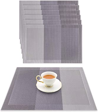 ZENplify Placemats Set of 6 - Heat-Resistant Insulation Washable Wipeable Woven PVC Vinyl Dining Table Place Mats. Kitchen Ac
