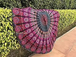 raajsee Purple Round Beach Tapestry Hippie Mandala/Boho Decor Beach Blanket Roundie/Indian Cotton Throw Bohemian Round Table Cloth Mandala/Yoga Mat Meditation Picnic Rugs 70 inch Circle