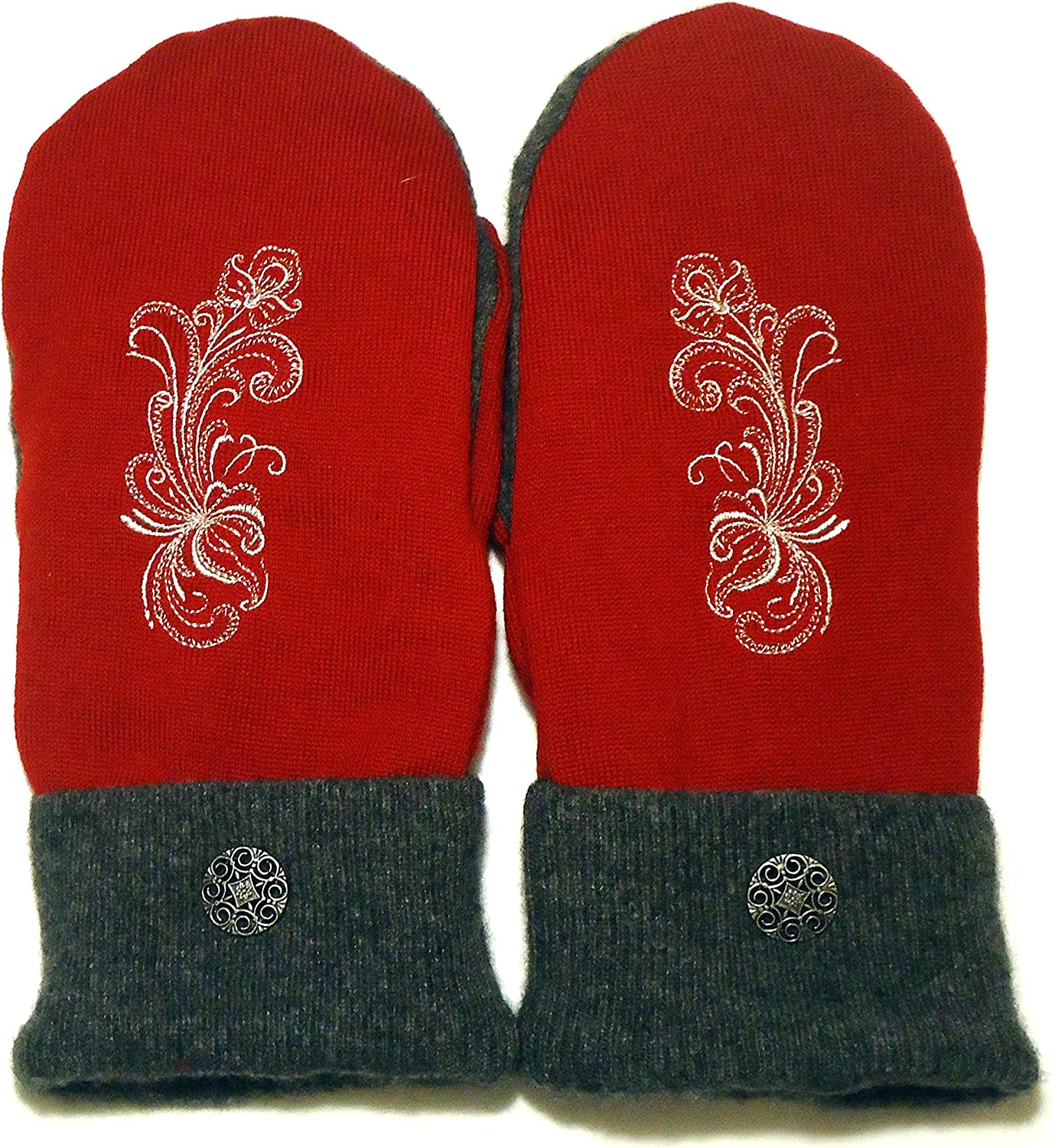 Integrity Designs Sweater Mittens, 100% Wool, Raspberry Red and Gray Color with Polar Fleece Lining, Adult Size Large, Super Thick, Rosemaling Folk Art Motif Embroidery, Contrasting Button