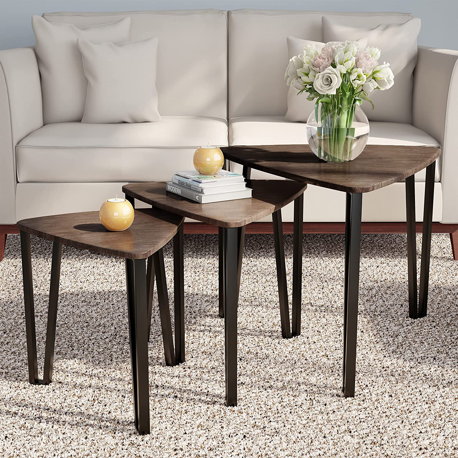 LAVISH HOME Nesting Set of 3, Modern Woodgrain Look for Living Room Coffee Tables or Nightstands-Contemporary Accent Decor Furniture