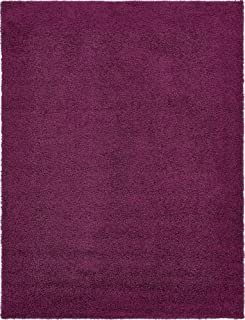 Unique Loom Solo Solid Shag Collection Modern Plush Eggplant Purple Area Rug (9' 0 x 12' 0)