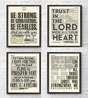 Joshua 1:9, Proverbs 3:5, Jeremiah 29:11, Philippians 4:13 Christian Art Prints, Set of 4, Unframed, Bible Verse Scripture Wall Decor Poster, 8x10 Inches