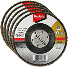 Makita 5 Pack - 40 Grit Flap Disc For Grinders - Aggressive Conditioning For Metal, Stainless Steel & Non-Ferrous - 4-1/2