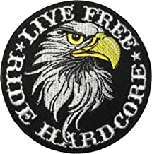 Papapatch LIVE FREE RIDE HARDCORE Eagle Hawk Biker Rider Chopper Jacket Costume Sewing on Iron on Embroidered Applique Patch (IRON-RIDE-HARDCORE-HAWK)