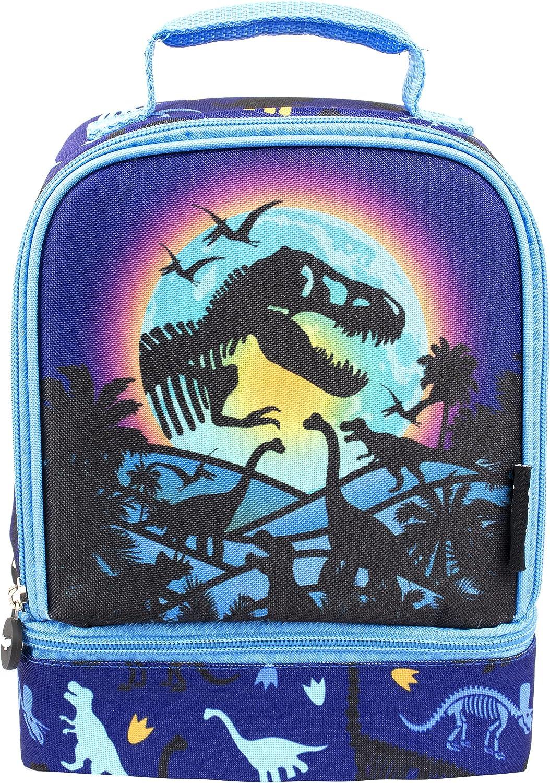 Fringoo - Fiambrera de Doble Compartimiento - Diseño de Dinosaurio - Bolsa de Almuerzo para Niños - Bolsa de Comida con Compartimiento - Fiambrera de Dinosaurio - Totalmente Aislado