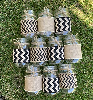 Black and Burlap Sleeves for Mason Jars, Mason Jar Wraps, Sleeves and Twine Only, Jars Not included, Set of 10