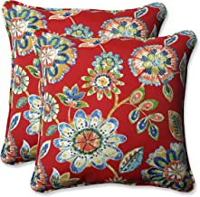 Pillow Perfect Outdoor | Indoor Daelyn Cherry 16.5 Inch Throw Pillow, 16.5 X 16.5 X 5, Red