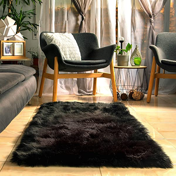 Fluffy Faux Black Fur Rug With Soft Thick Padding And Anti Slip Backing 5 X 2 3 Feet Plush Fuzzy Bedside Area Black Rugs For Bedroom Rug Furry Black Area Shag Rug Black Carpet By Shuna Creations
