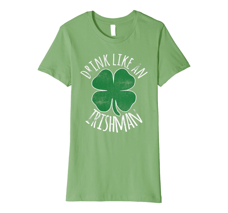 St. Patrick's Day Irish Funny Beer Drinking Green Shamrock Premium T-Shirt-Awarplus