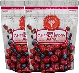 Cherry Bay Orchards - Dried Mixed Fruit Blend (Cherries, Blueberries, Cranberries) - Two 6oz Bags - 100% Domestic, Natura...